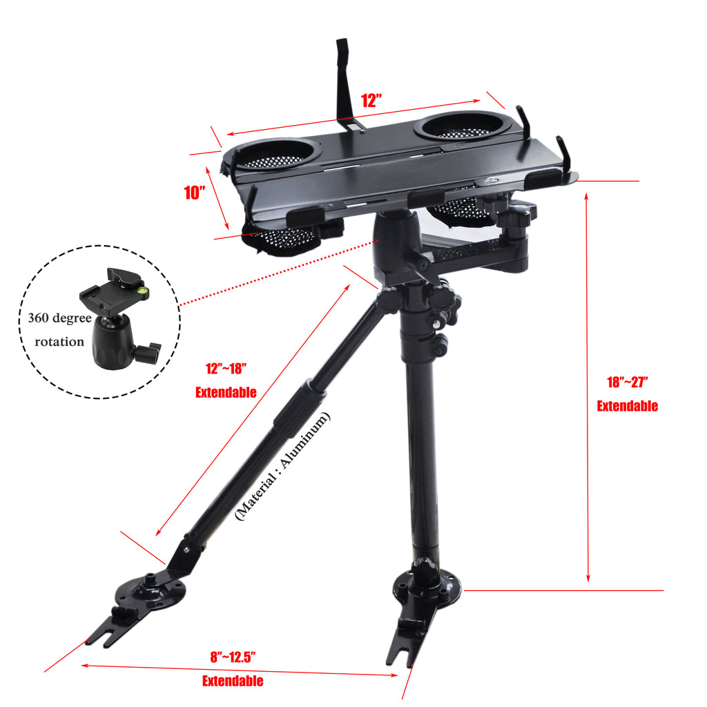AA Products Universal Car Laptop Mount Vehicle Computer Stand with Ball-Head No Drilling Bracket and Aluminum Supporting Arm (K002-AS)
