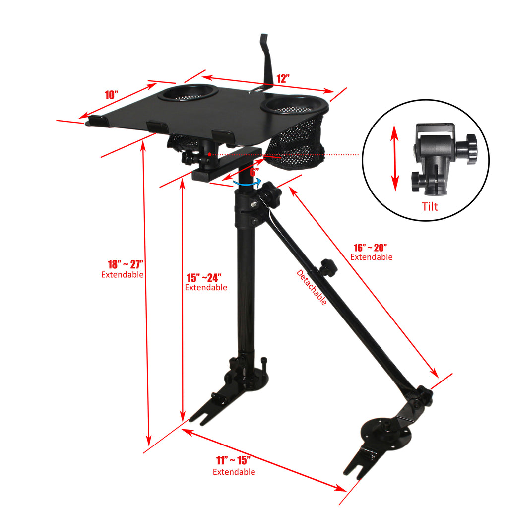 AA Products Auto Car Laptop Computer Table Mount Stand Holder Tray with No Drill Bracket Supporting Arm (K005-B3)