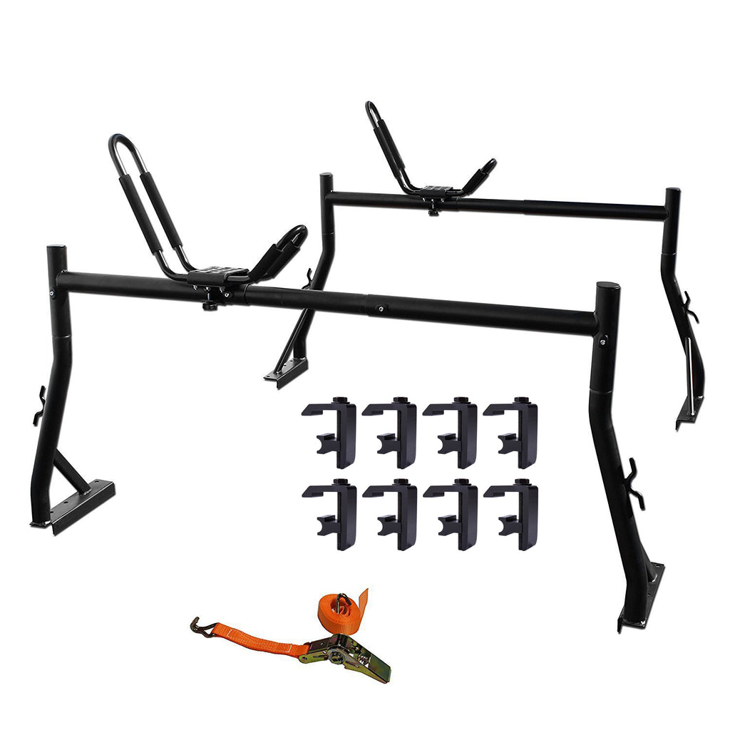 AA-Racks Truck Rack with (8) Mounting C-Clamps and Kayak J-Racks w/ Ratchet Tie Down Strap (Fits: Toyota Tacoma 2016-On) - (KX-345/355-TA)