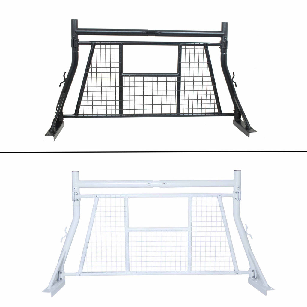 AA-Racks Adjustable Headache Rack Single Bar Pickup Truck Rack with Window Guard Protection Screen Set (X35-A-W)