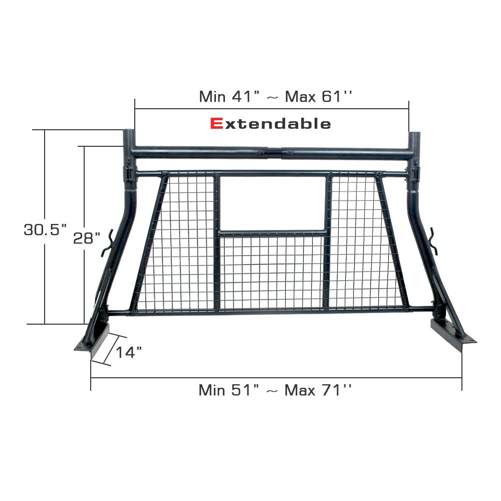 AA Racks Universal Pickup Truck Headache Racks Adjustable Back Rack w/ Window Guard Protection (X35-W)