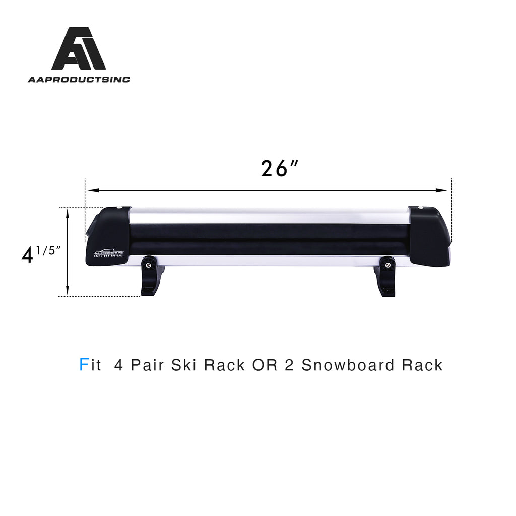 AA Products 26'' Aluminum Universal Ski Roof Rack Carrier Fits 4 Pairs Skis or 2 Snowboards (SR-A260)