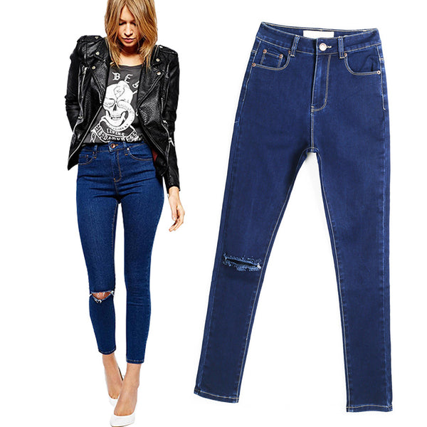 Knee Hole Ripped Skinny Jeans European Style