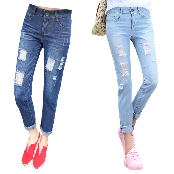 Jeans Loose Ankle-Length Ripped Hole Harem Denim Pants