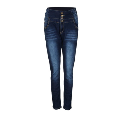 High Waisted Elastic Solid Blue Skinny Jeggings