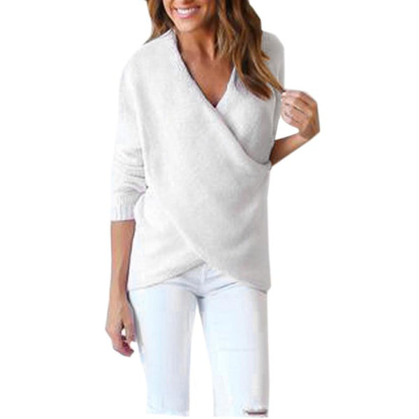 s Sweater Long V-Neck Cross Long Sleeve Loose Knitted Casual Jumper Tops Solid Gray White Outwear pull femme
