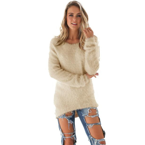 Autumn Winter Womens Blouse Casual Solid Long Sleeve Beige Clothing Solid Shirt #LSIW