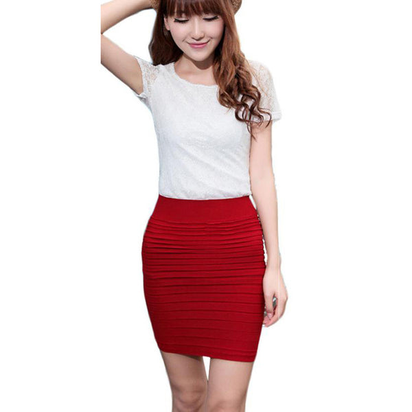 Skirts s High Waist s Short Skirt Solid Elastic Pleated Package Hip Skirt For Lady #LN