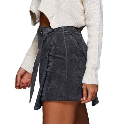 Corduroy Seamless High Wasted Mini Skirt With Belt