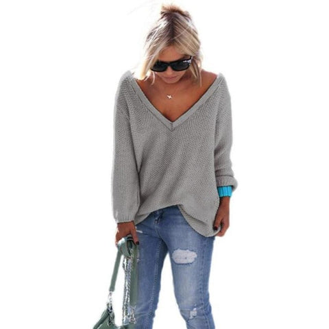 Sweater Long Sleeve Knitted Pullover Loose Jumper Tops knitted sleeve Elegant loose v neck sweater