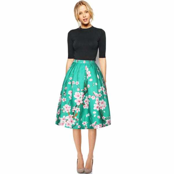 Floral Printed Pleated High Waist Skirt