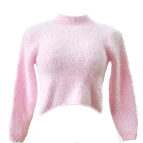 Sweater Long-sleeved High-necked Shirt Umbilical Bottomed Plush Top Blouse Female High Qaultiy #LSW