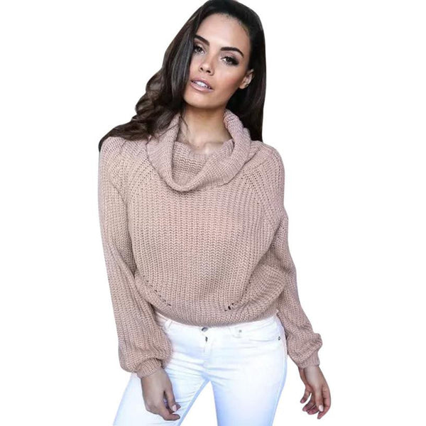 Sweaters and Pullovers Solid Long Sleeve Knitted Loose Sweater Jumper Crop Top Basic Shirt #LSW