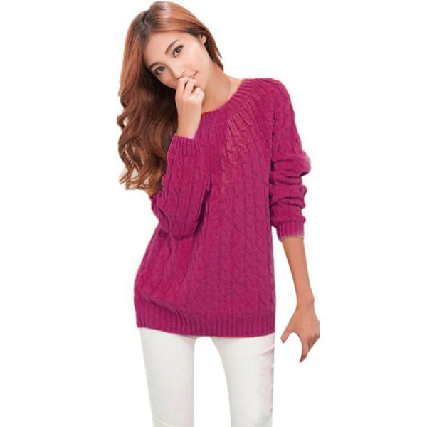 Fashion Women Long Sleeve Knitted Loose Sweater Jumper Tops Slim Fit Knitwear Sweaters and Pullovers Outerwear