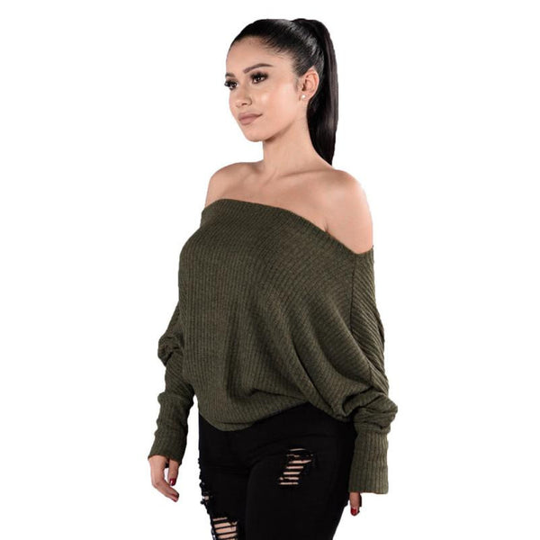 Off Shoulder Design Pullover Sweaters Loose Knitted Strapless Stripe Sweater O-Neck Casual Tops