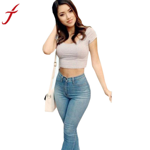 Pencil Trousers Denim Skinny Pants High Waist Stretch Slim Jeans