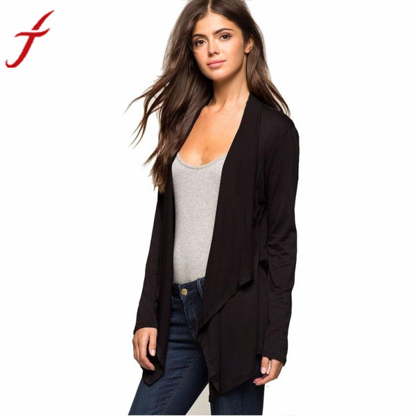 Autumn Winter Black jacket women coat Long Sleeve Jacket Femme Irregular Cardigan with High Quality
