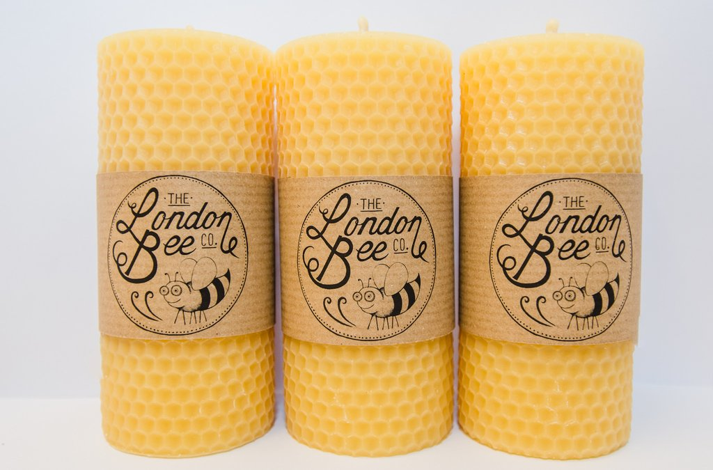 LONDON BEE COMPANY SOLID BEESWAX PILLAR CANDLES