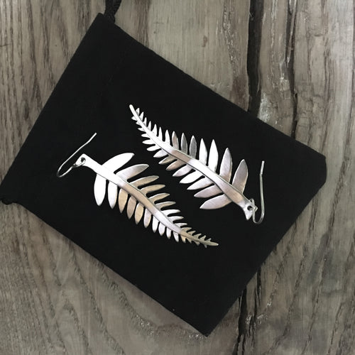 DAYA DAYA HANDCRAFTED 925 ECO SILVER FERN EARRINGS