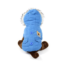 Bear Patch Fur Hood Coat in Blue