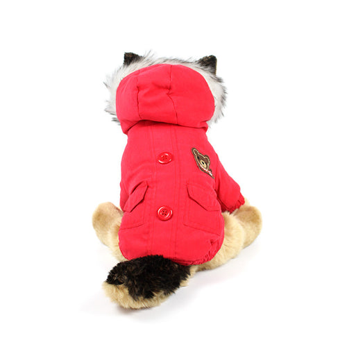 Bear Patch Fur Hood Coat in Red