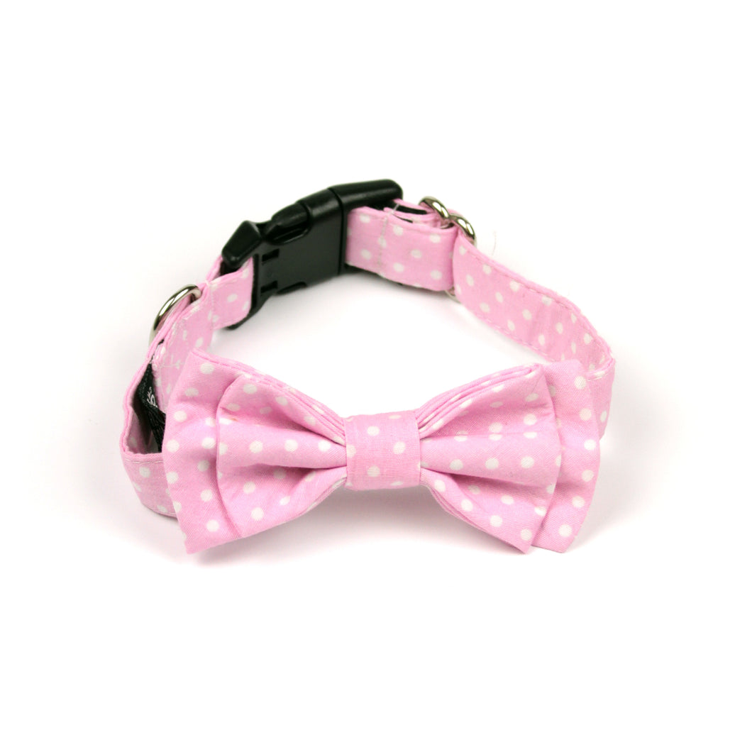 Pink Polka Dot Bow Tie by The Paw Wag Company for Dogs