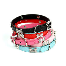Rhinestone Dog Bone Collar in Fuschia
