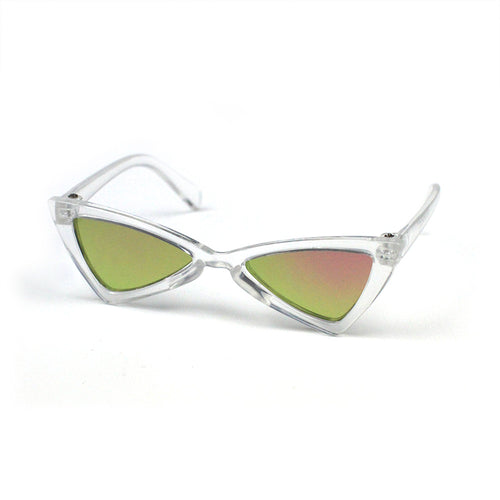 Clear Cat Eye Triangle Sunglasses in Pink Mirror by The Paw Wag Company for Cats and Small Dogs.  Fashion Pet Glasses and Sunglasses.