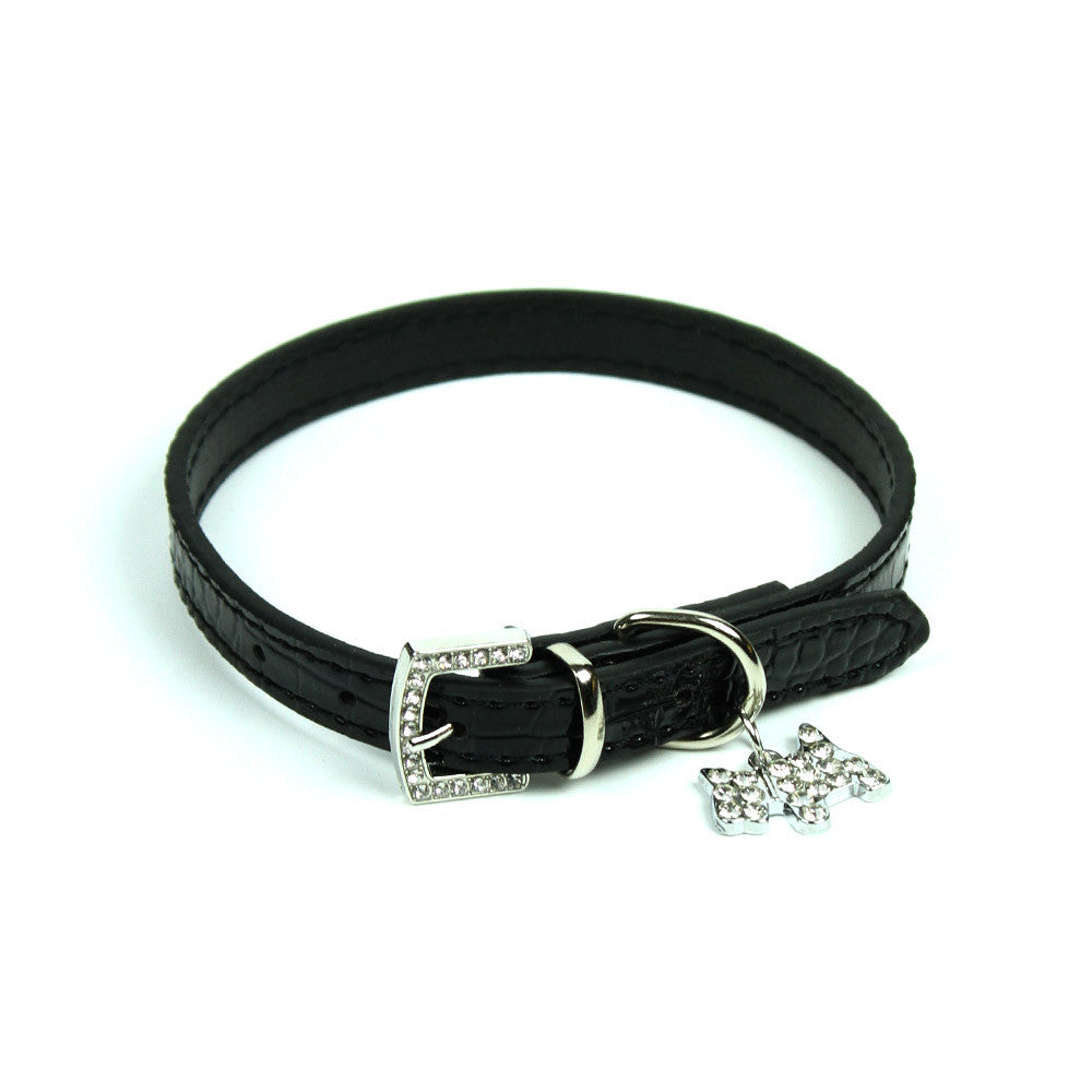 Terrier Charm Collar in Black by The Paw Wag Company