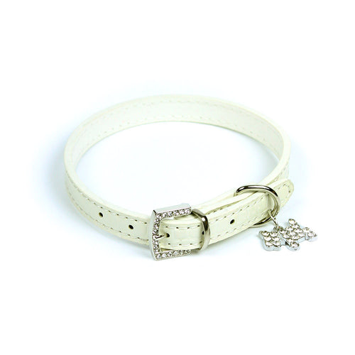 Terrier Charm Collar in White by The Paw Wag Company