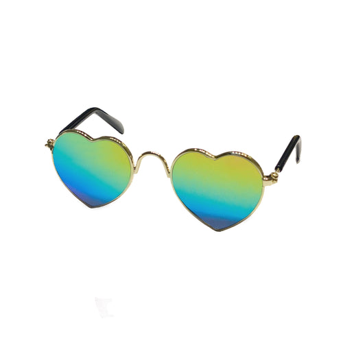 Heart Rainbow Sunglasses in Gold by The Paw Wag Company