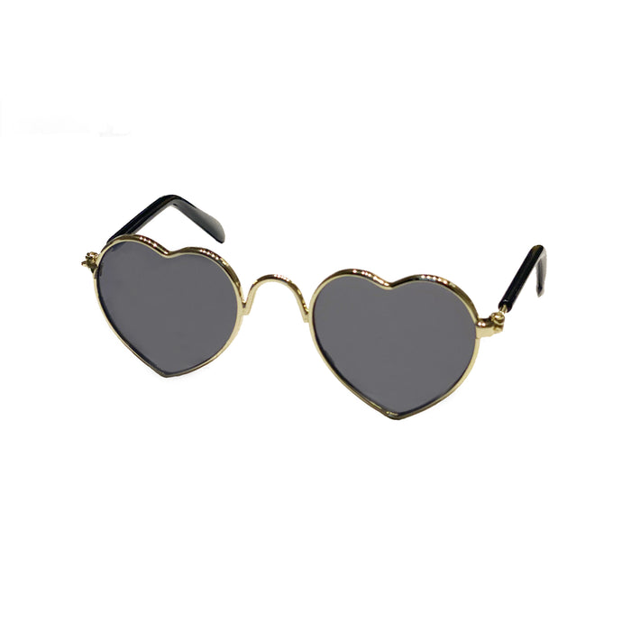 Heart Sunglasses in Gold by The Paw Wag Company