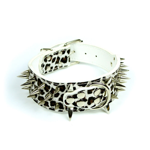 Leopard Print Spiked Collar in White by The Paw Wag Company