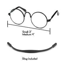 Round Glasses in Black by The Paw Wag Company for Cats and Small Dogs.  Fashion Pet Glasses and Sunglasses.