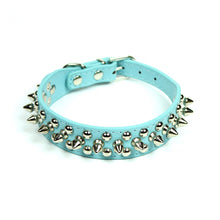 Petite Spiked and Studded Collar in Light Blue by The Paw Wag Company