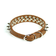 Petite Spiked and Studded Collar in Brown by The Paw Wag Company