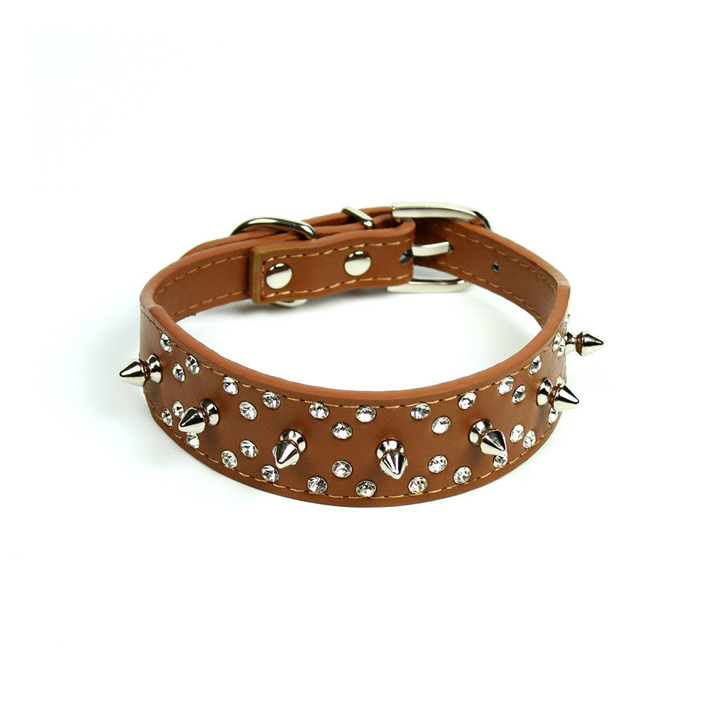 Rhinestones and Spikes Collar in Brown by The Paw Wag Company