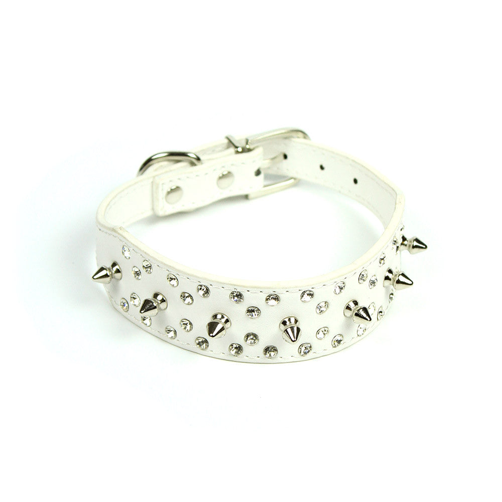 Rhinestones and Spikes Collar in White by The Paw Wag Company