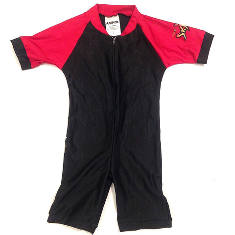 Youth Unisex One-Piece Short Sleeve - Black/Red - Radicool Sun Protective Apparel