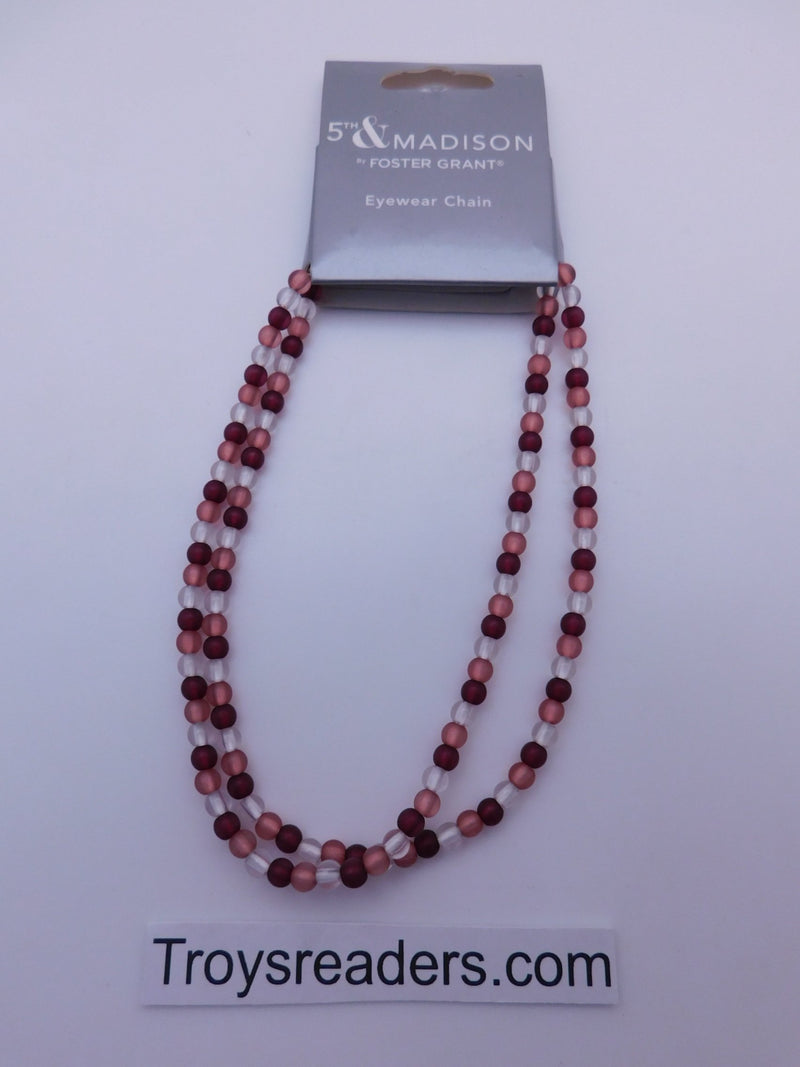 5th & Madison Pink & White Eyeglass Chain Cords