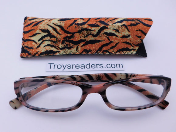 Animal Print Readers With Case in Four Colors Reader with Display Tiger +1.00