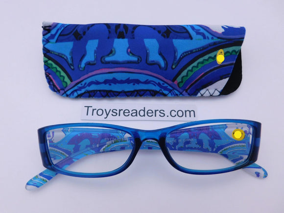Artistic Readers With Case in Four Colors Reader with Display Blue +1.00