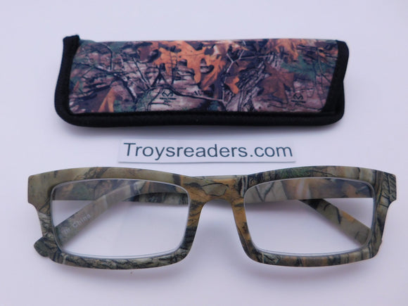 Big Buck Camo Readers In Four Colors Reader with Display Gray Forest +2.25