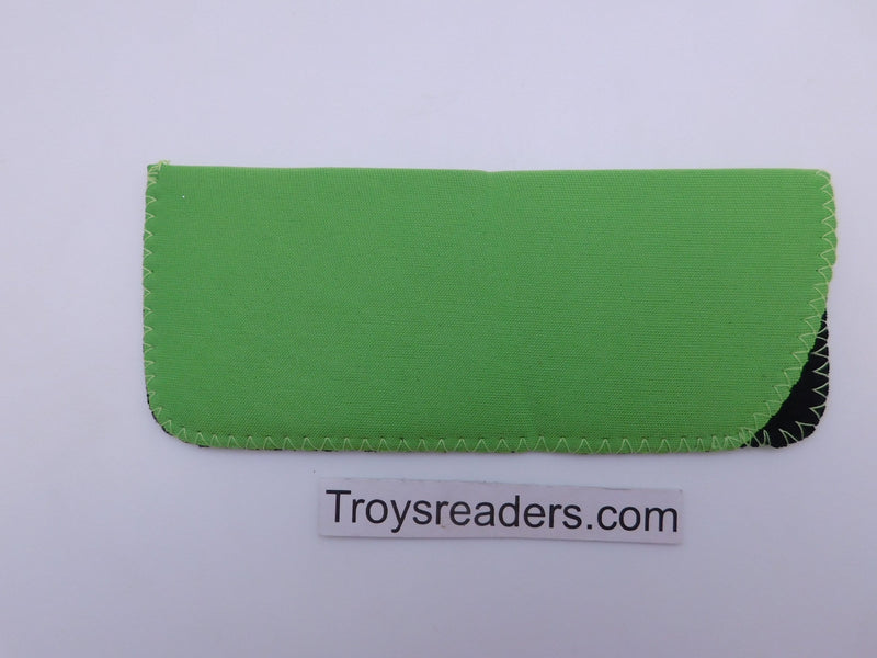 Black Neoprene Glasses Sleeve/Pouch in Six Colors Cases Green