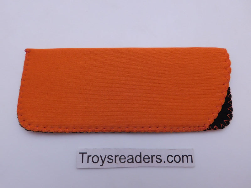 Black Neoprene Glasses Sleeve/Pouch in Six Colors Cases Orange