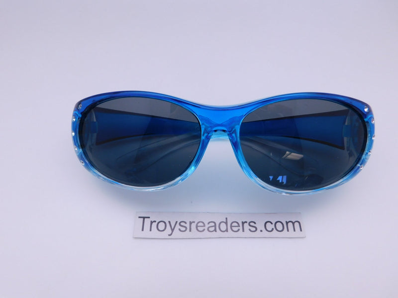 Bright Transparent Glitzy Polarized Fit Overs in Four Colors Fit Over Sunglasses Blue Smoke