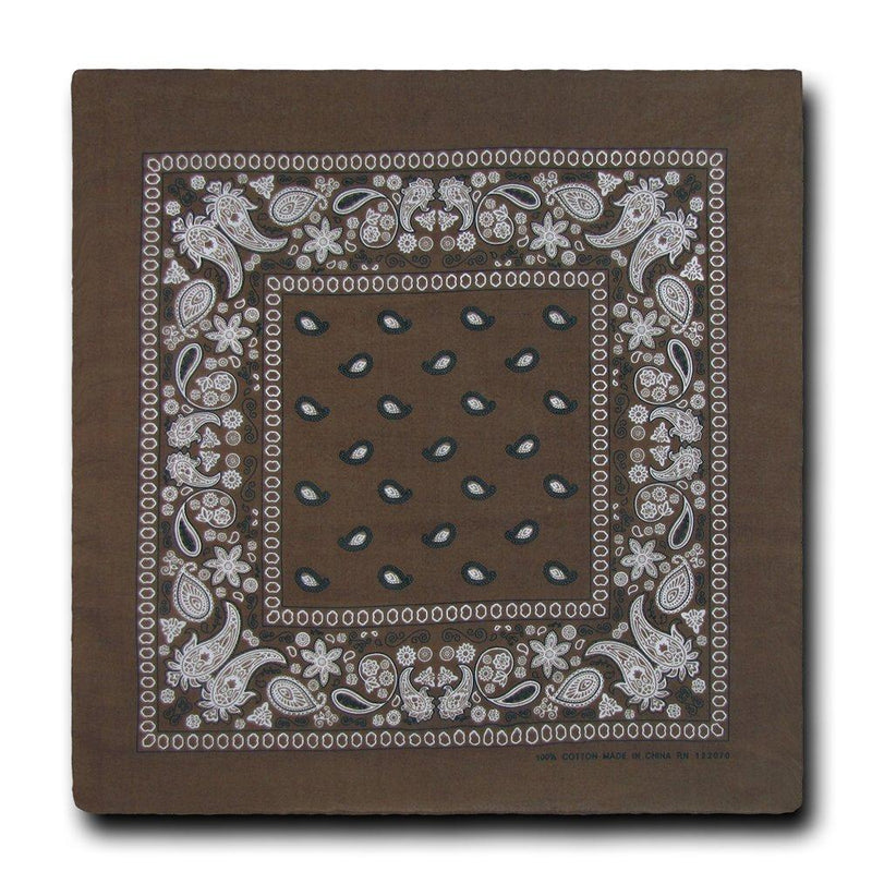 Brown Bandana 100% Cotton Bandana