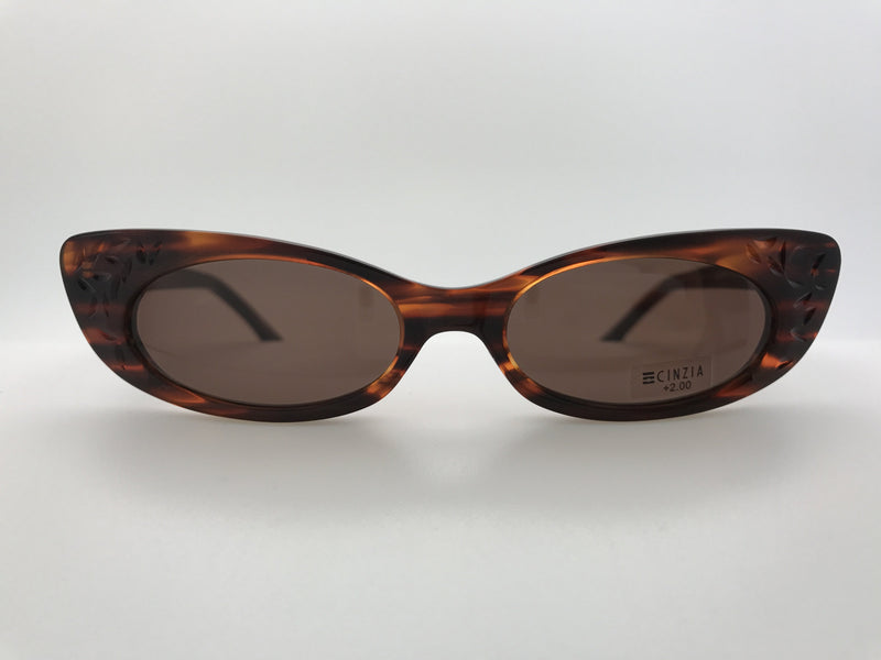 Cinzia Celebrity Reading Sunglasses Brown With Case Single Power Reading Sunglass table