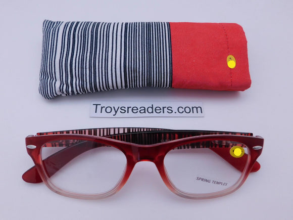 Color Line Readers With Case in Four Colors Reader with Display Red +1.25