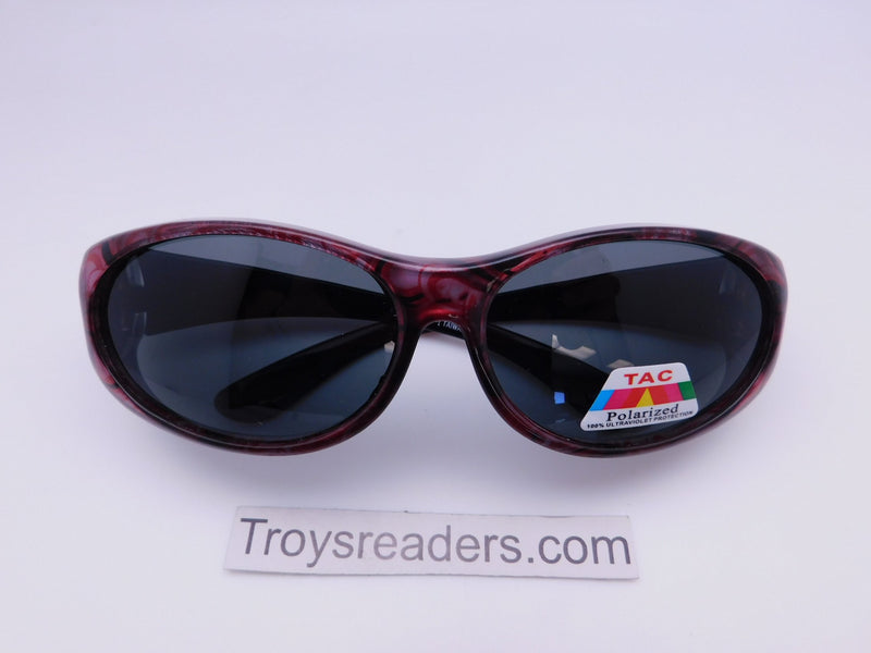 Colorful Fits-Over Sunglasses With Backspray in Four Designs Fit Over Sunglasses Red Circles